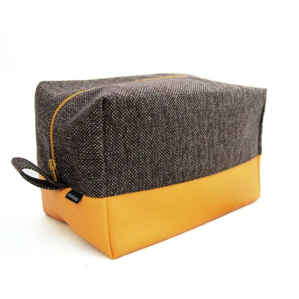 Large toiletry bag vegan yellow